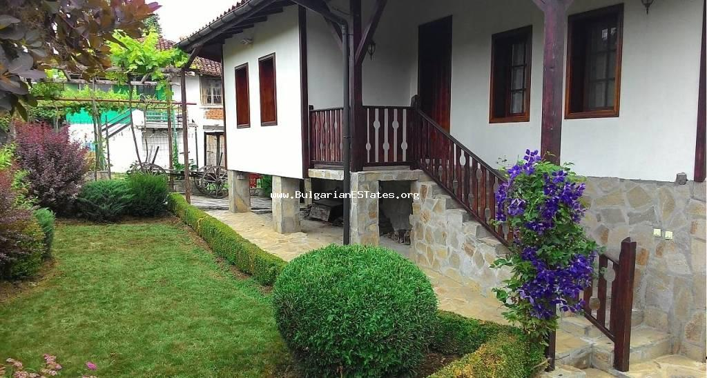 For sale is offered fully renovated authentic Bulgarian house in the village of Golyamo Bukovo, just 50 km from the city of Burgas.