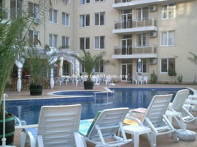 "A large one-bedroom apartment for sale in a gated complex ""Balkan breez"" in the Sunny Beach resort."