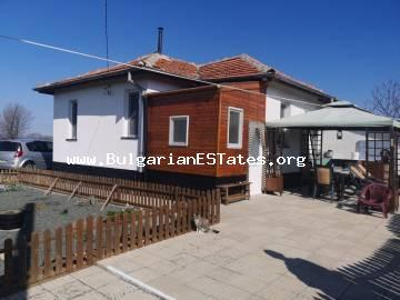 Affordable renovated house is for sale with a magnificent panoramic view of the Balkan Mountains in the village of Krushovo, 12 km from the town of Karnobat and 55 km from Burgas.