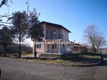 For sale is a new two-storey house in the village of Miroliubovo, 20 km from the center of Burgas and 7 km from the Vetren district.