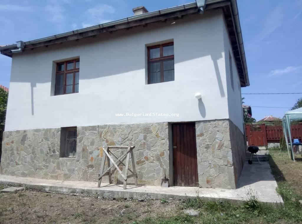 For sale is an affordable renovated house in the village of Yasna Polyana, just 10 km from the sea and the town of Primorsko.