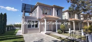 "For sale is a detached two-storey house in a gated complex ""Victoria Hill"", located in the suburban area of Sarafovo, 3 km from the town of Pomorie and the sea."